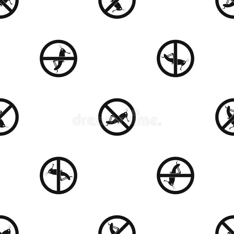 Nenhum preto sem emenda do teste padrão do sinal dos locustídeo ilustração stock