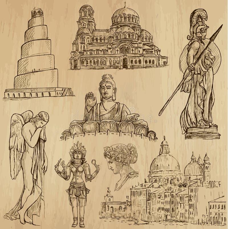 Nenhum religioso 1 - Bloco do vetor, desenhos da mão ilustração stock