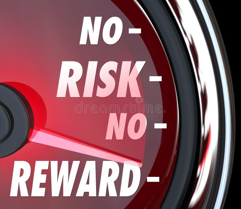 Nenhum risco nenhuma recompensa exprime o ROI do investimento do velocímetro ilustração royalty free