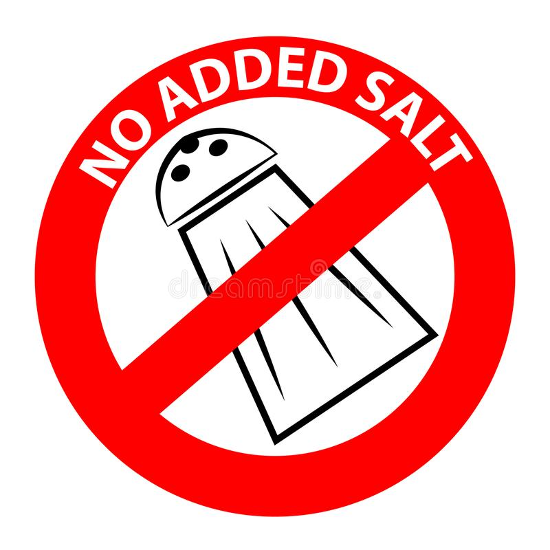 Nenhum símbolo adicionado de sal ilustração stock