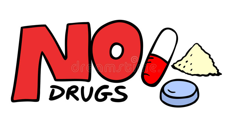 Nenhum símbolo das drogas ilustração royalty free