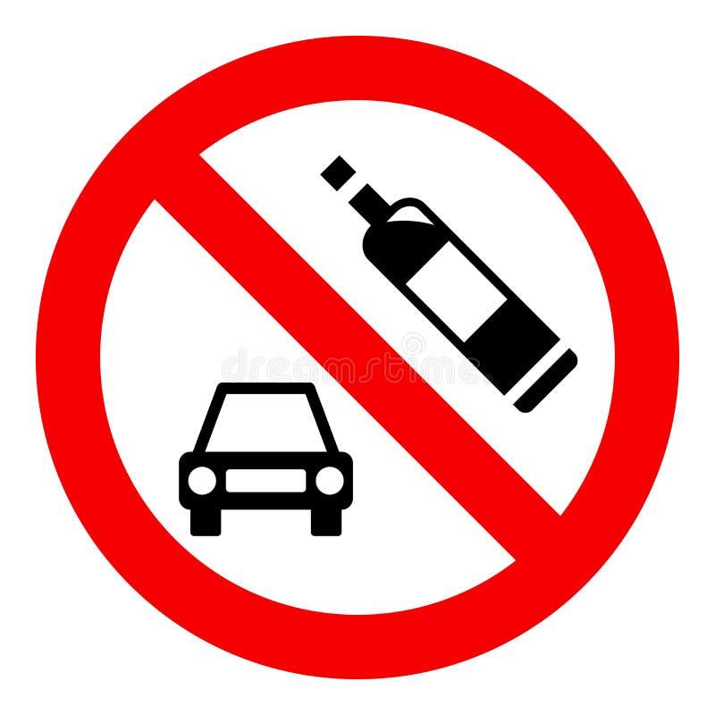 Nenhum sinal da bebida e da movimentação, isolado no fundo branco, ilustração do vetor ilustração stock