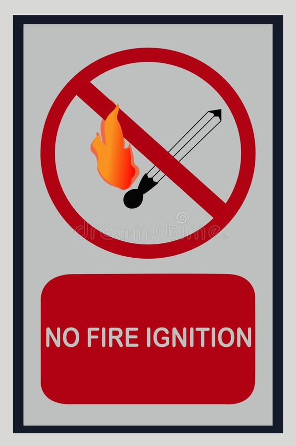 Nenhum sinal da ignição do fogo no branco ilustração stock