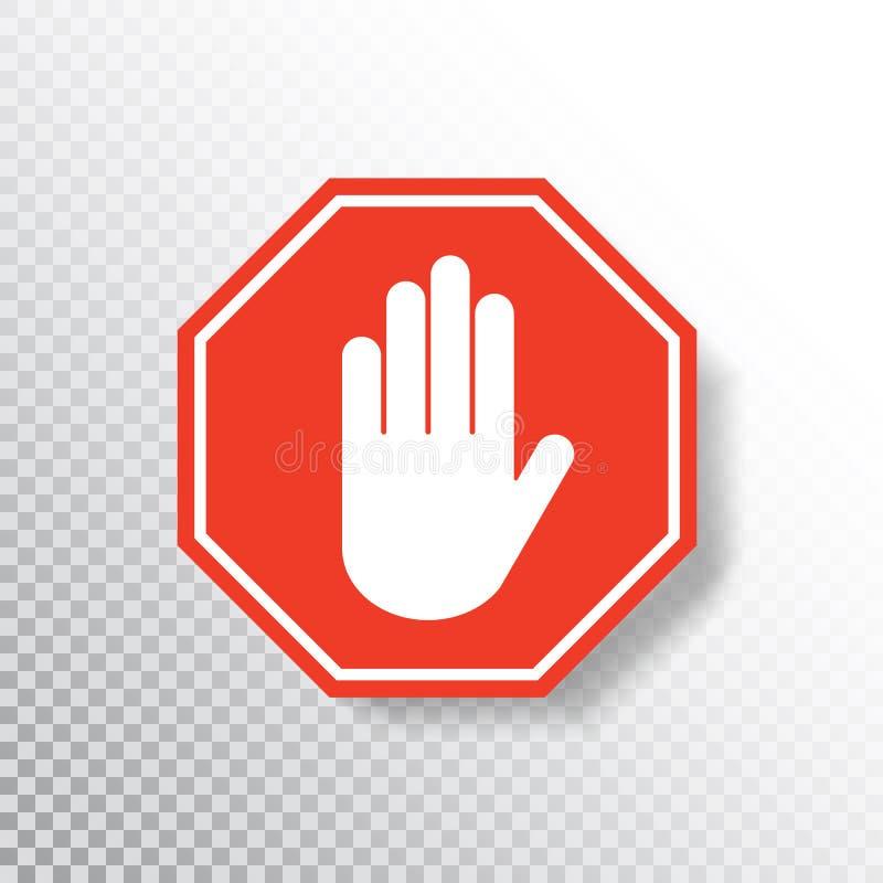 Nenhum sinal da m?o da entrada no fundo transparente ?cone vermelho do sinal da parada com palma da m?o Sinal de estrada Aviso re ilustração stock