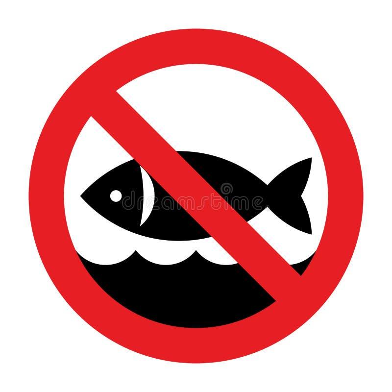 Nenhum sinal da pesca Nenhum sinal permitido pesca ilustração royalty free