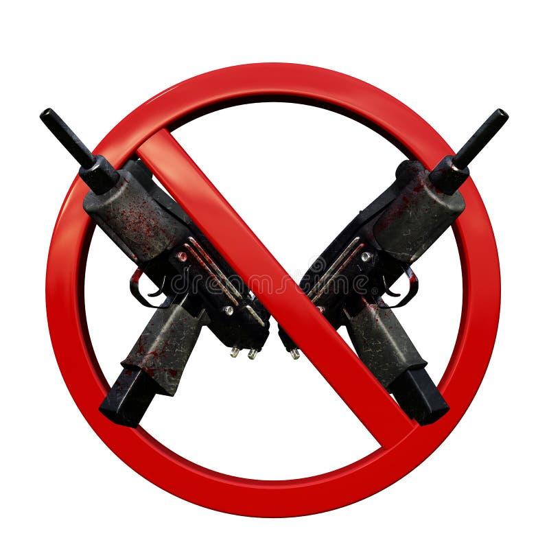 Nenhum sinal das armas 3D imagens de stock