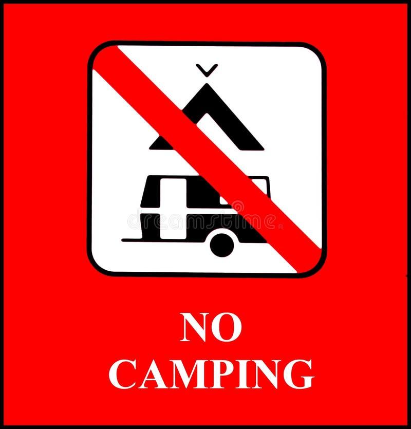 Nenhum sinal de acampamento no fundo vermelho brilhante ilustração do vetor