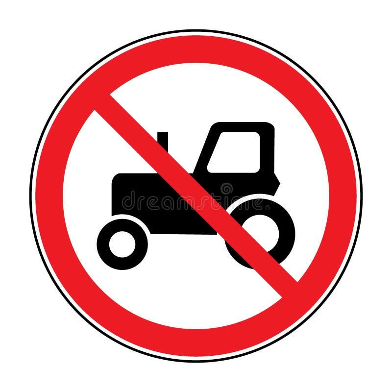 Nenhum sinal de estrada do trator ilustração royalty free