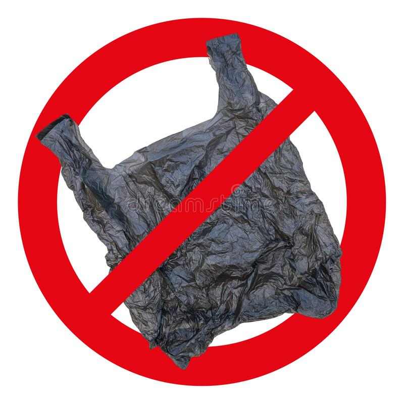 Nenhum sinal de saco plástico e ícone isolados em branco imagem de stock