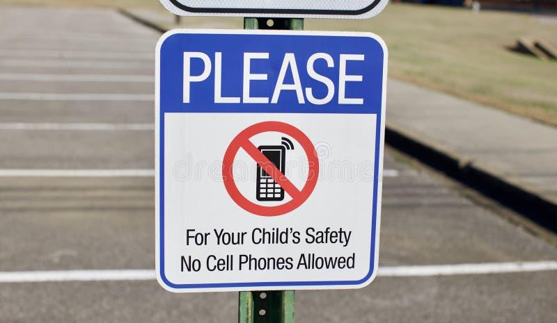 Nenhum sinal de segurança do telefone celular fotografia de stock