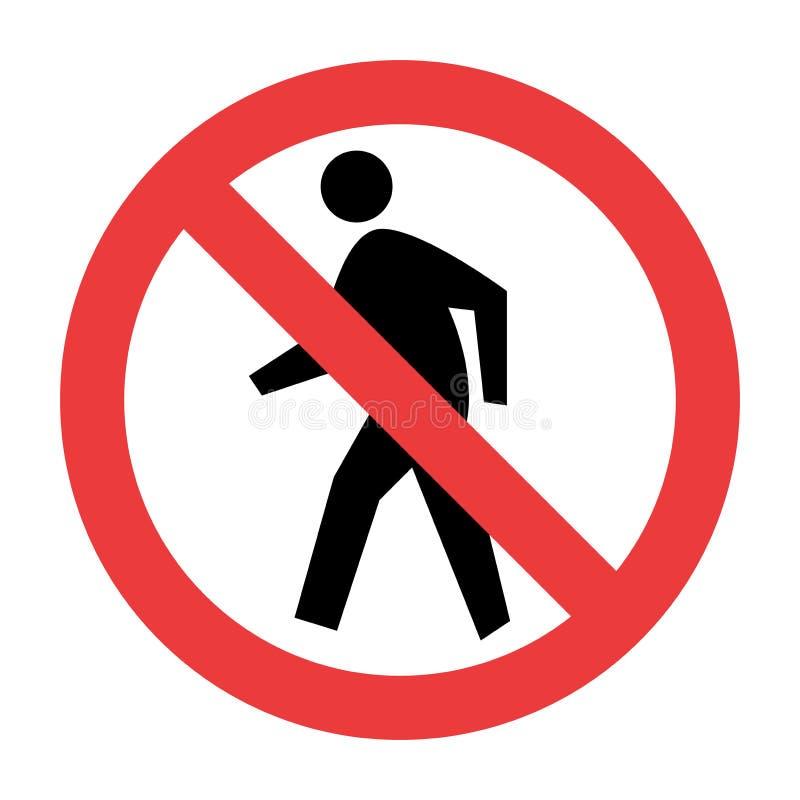Nenhum sinal de tráfego do pedestre ilustração stock