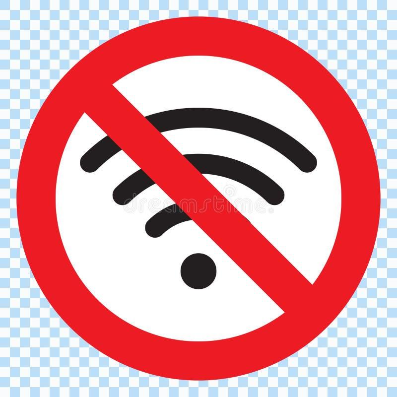 Nenhum sinal, nenhum sinal de Wifi ilustração stock