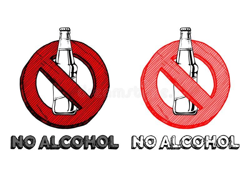 Nenhum sinal do álcool ilustração stock