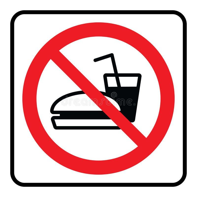 Nenhum sinal do alimento e da bebida ilustração do vetor