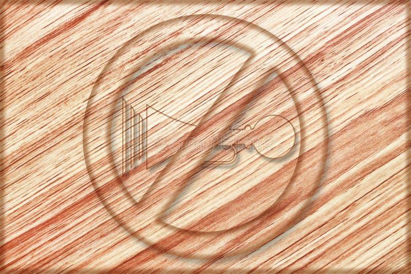 nenhum sinal do chifre na placa de madeira ilustração royalty free