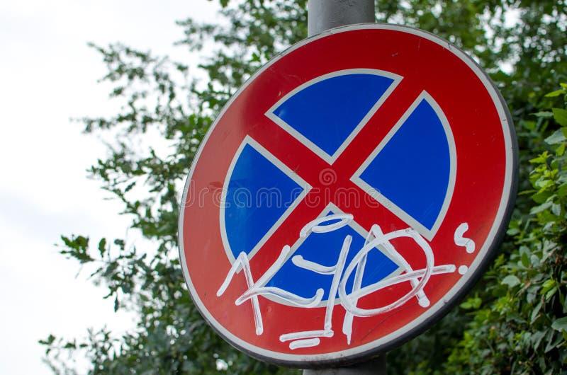 Nenhum sinal do estacionamento (Itália) fotografia de stock