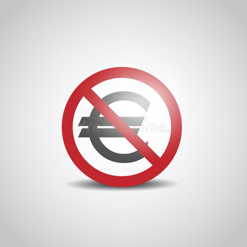 Nenhum sinal do Euro ilustração royalty free