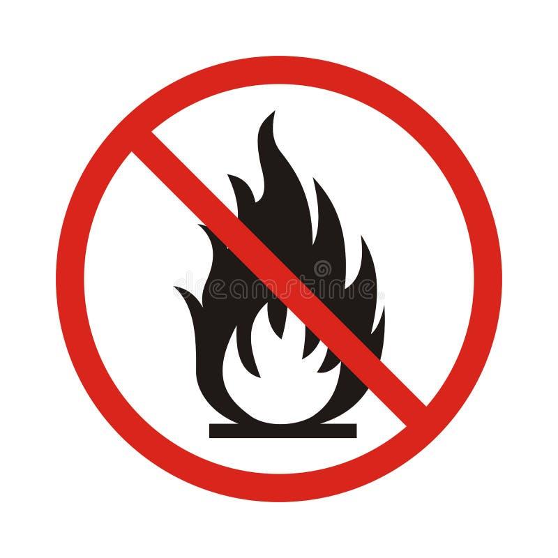 Nenhum sinal do fogo Símbolo da chama aberta da proibição Ícone vermelho em b branco ilustração stock