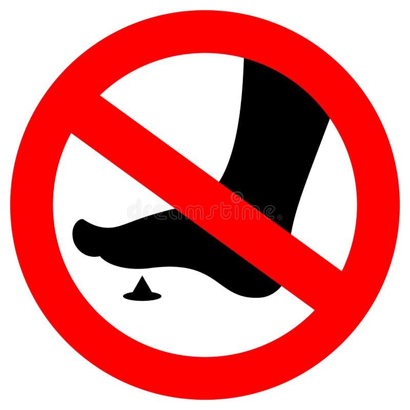 Nenhum sinal do pé desencapado ilustração royalty free