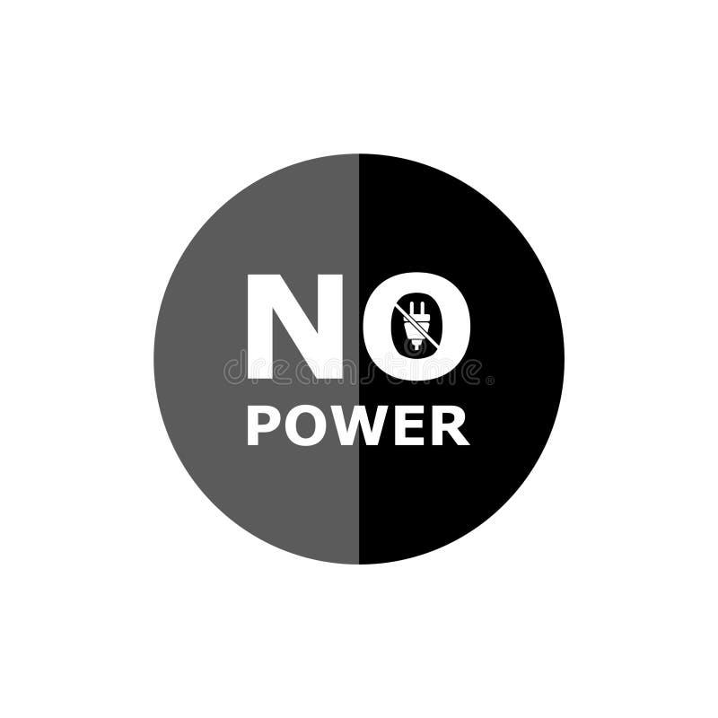 Nenhum sinal do poder, logotipo elétrico, ícone do poder, obstrui dentro o símbolo ilustração stock