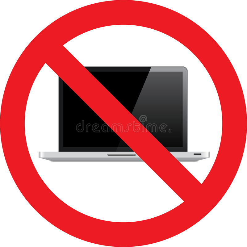 Nenhum sinal do portátil ilustração stock