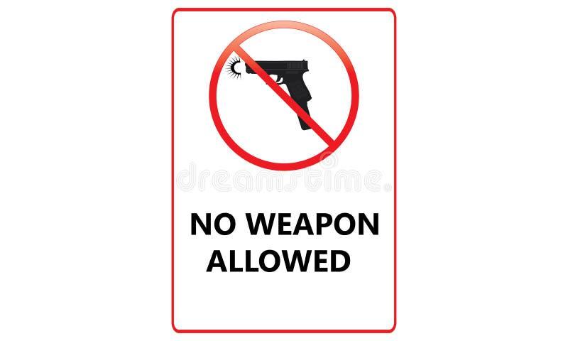 Nenhum sinal permitido arma - nenhuma arma permitiu Logo Sign vermelho - ilustração do vetor