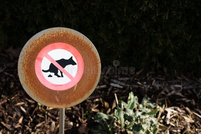 Nenhum sinal pooping do cão na frente da conversão foto de stock royalty free