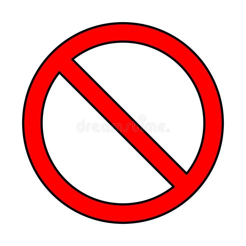 Nenhum sinal, projeto do símbolo da proibição isolado no fundo branco ilustração royalty free