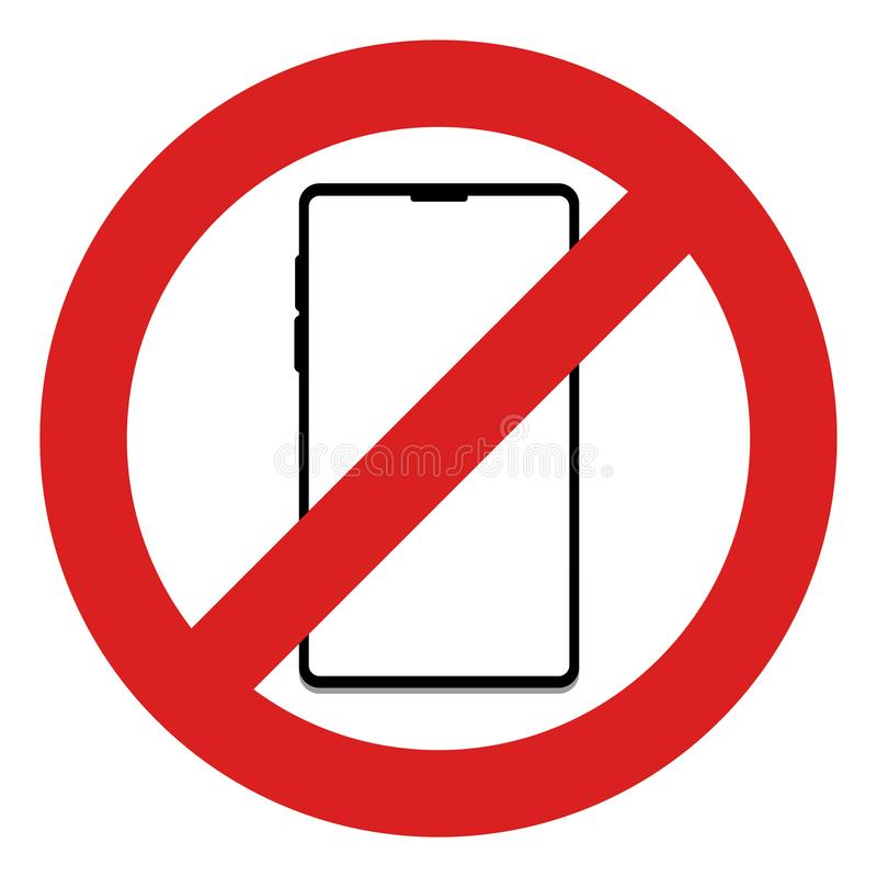 Nenhum telefone celular neste sinal da área ilustração do vetor
