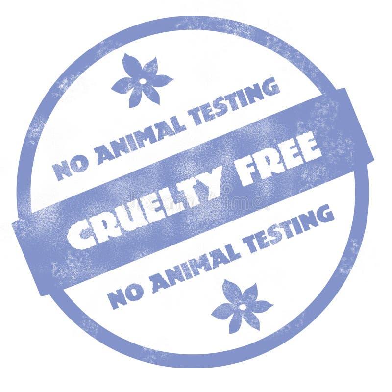 Nenhum teste animal - a crueldade livra o carimbo de borracha ilustração do vetor
