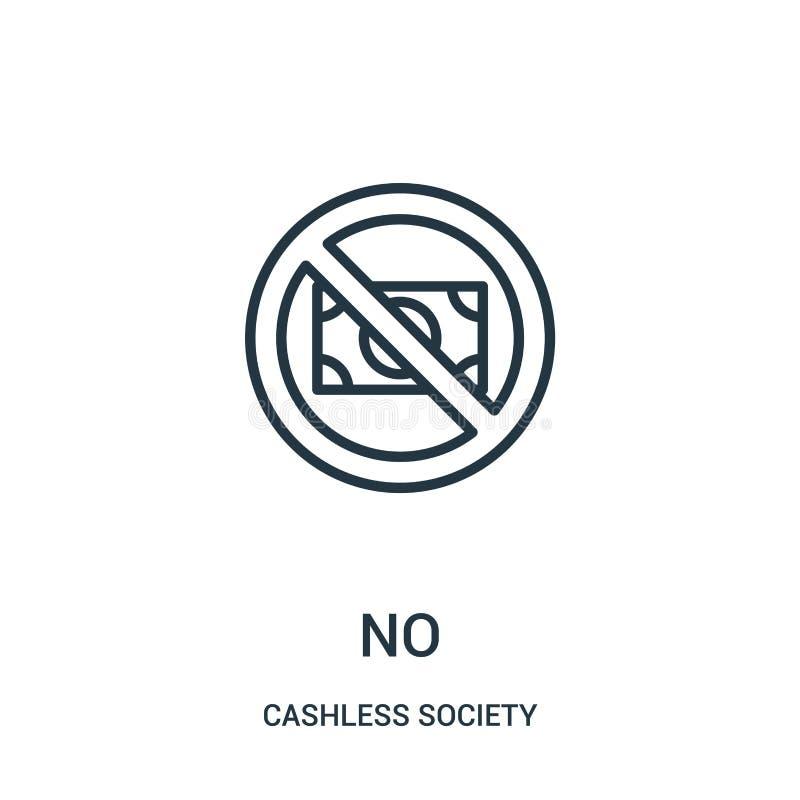 nenhum vetor do ícone da coleção cashless da sociedade Linha fina nenhuma ilustra??o do vetor do ?cone do esbo?o ilustração do vetor
