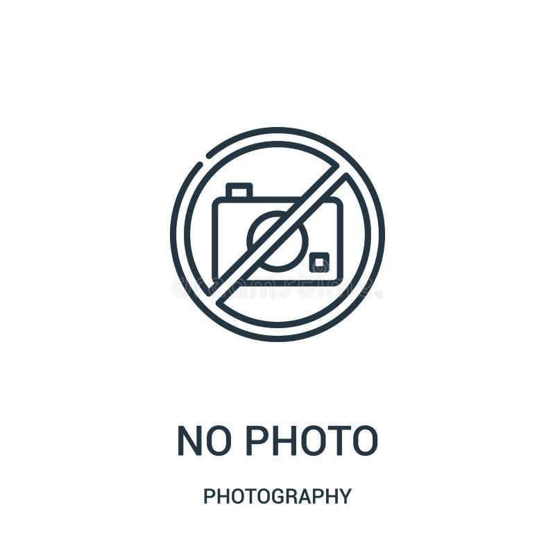 nenhum vetor do ícone da foto da coleção da fotografia Linha fina nenhuma ilustração do vetor do ícone do esboço da foto ilustração royalty free