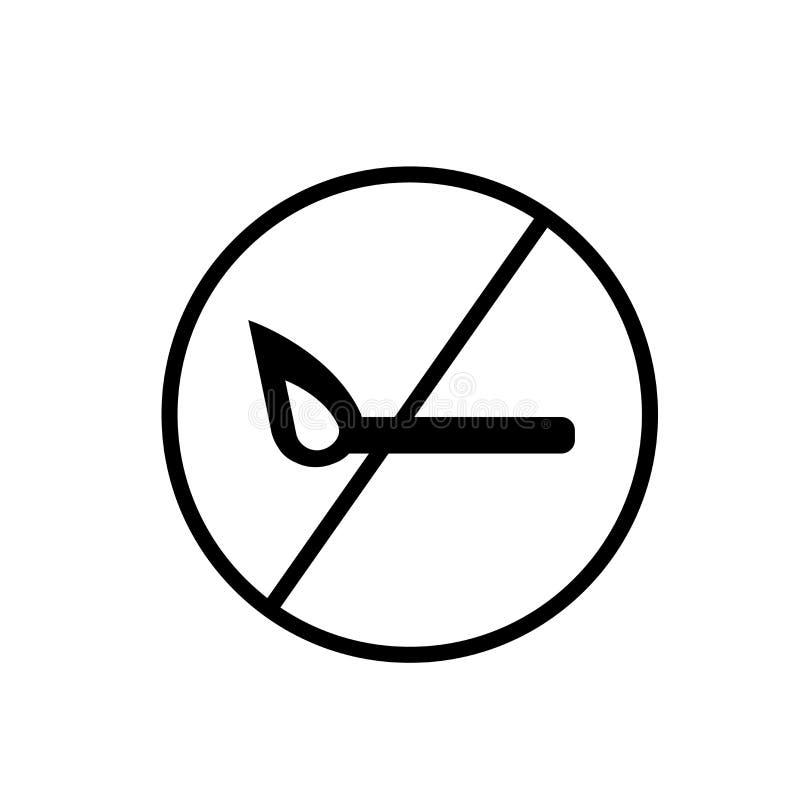 Nenhum vetor isolado no fundo branco, nenhum sinal do ícone do fogo do fogo ilustração do vetor