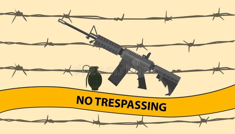 Nenhuma área interditado infrinjindo com a granada e o arame farpado da bomba da arma do riffle ilustração do vetor
