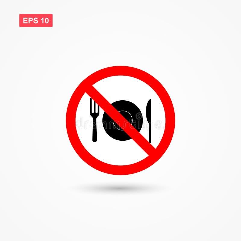 Nenhuma alimento e bebida ou nenhum sinal 2 comer ilustração stock