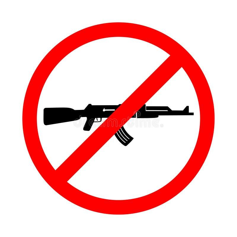 Nenhuma arma assina, nenhum sinal da guerra Ícone de advertência brilhante, sinal da limitação em um fundo branco ilustração do vetor