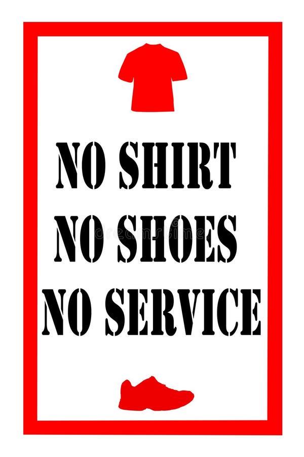 Nenhuma camisa nenhum sinal das sapatas ilustração stock