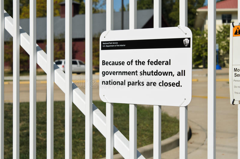 Nenhuma entrada devido à parada programada do governo dos E.U. imagem de stock
