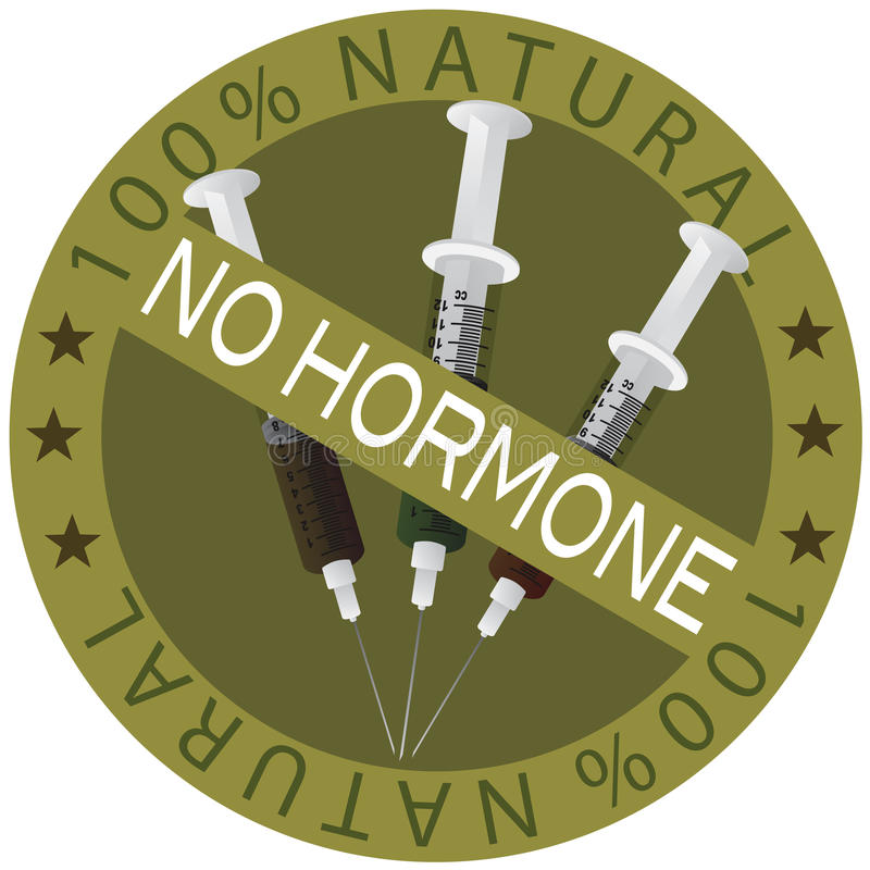 Nenhuma etiqueta natural da hormona 100% ilustração royalty free