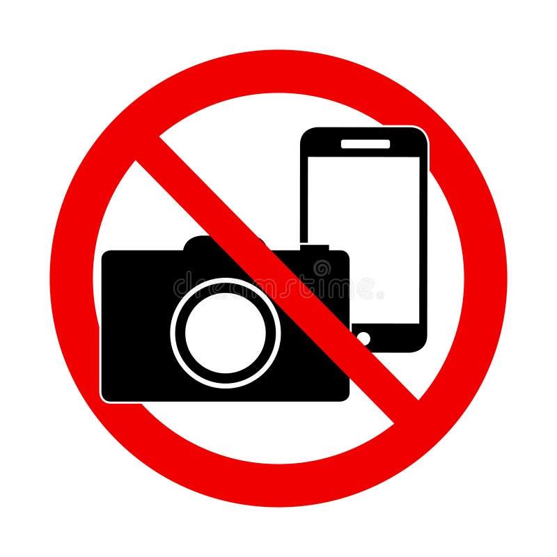 Nenhuma foto e nenhum sinal do telefone - sinal proibido ilustração stock