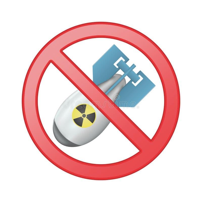 Nenhuma guerra nuclear Armas atômicas da proibição Nenhuma bomba nuclear Símbolo isolado vetor ilustração royalty free