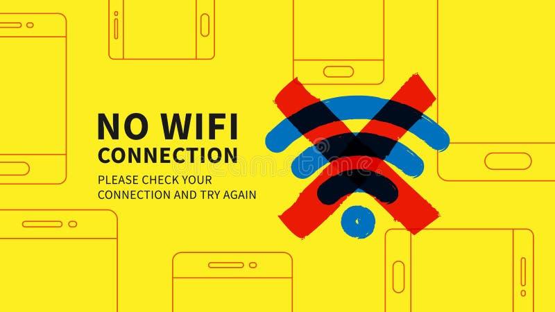 Nenhuma ilustração do vetor da página da conexão do wifi ilustração royalty free