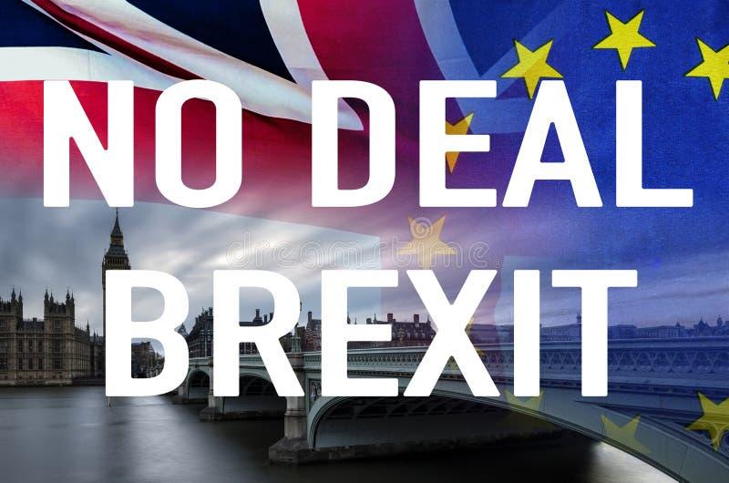 Nenhuma imagem conceptual do negócio BREXIT do texto sobre a imagem de Londres e das bandeiras do Reino Unido e da UE que simboli imagens de stock