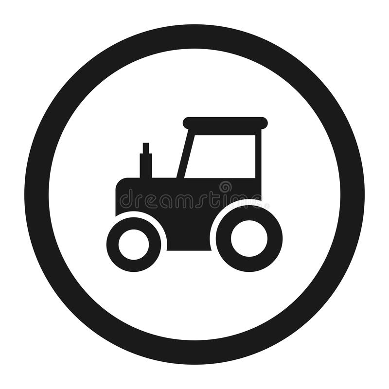 Nenhuma linha ícone do sinal da proibição do trator ilustração do vetor