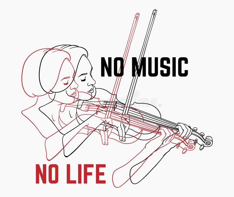 Nenhuma m?sica nenhuma vida Ilustração tirada mão do vetor da mulher que joga no violino isolado ilustração stock