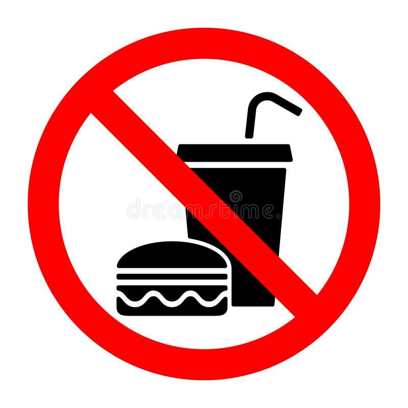 Nenhuma parada do alimento come ou bebe o sinal da proibição ilustração stock