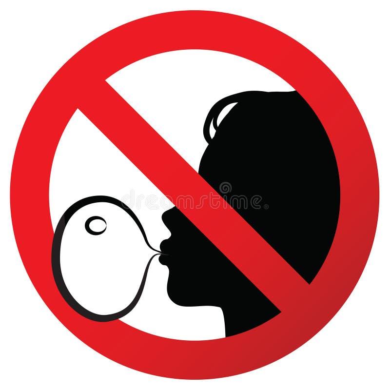Nenhuma pastilha elástica proibiu o sinal do símbolo na etiqueta de papel, ilustração contra o sopro de uma pastilha elástica ilustração do vetor