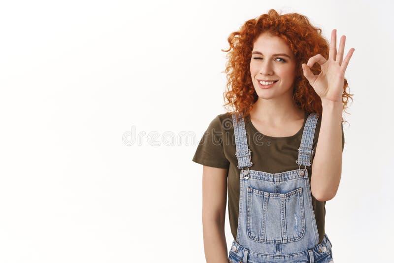 Nenhuma tal menina do problema não pode segurar A mulher nova segura alegre do ruivo assegura, dá a aprovação a boa ideia, aprova fotografia de stock