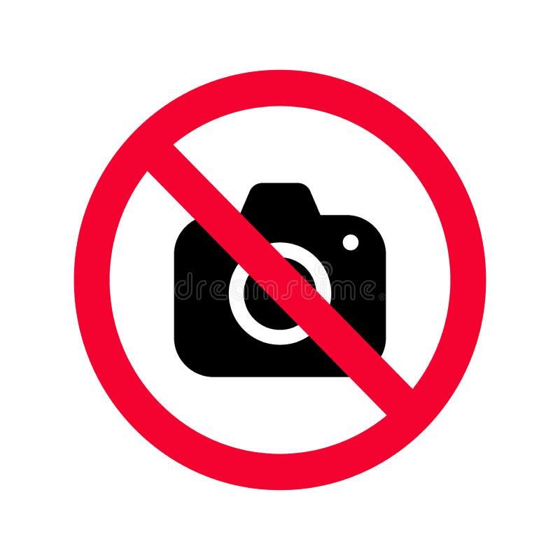 Nenhumas câmeras permitidas o sinal Proibição vermelha nenhum sinal da câmera Nenhumas imagens de tomada ilustração royalty free