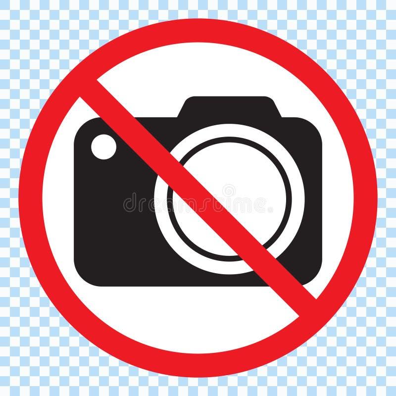 Nenhumas câmeras permitidas o sinal Proibição vermelha nenhum sinal da câmera Nenhumas imagens de tomada, nenhum sinal das fotogr ilustração royalty free